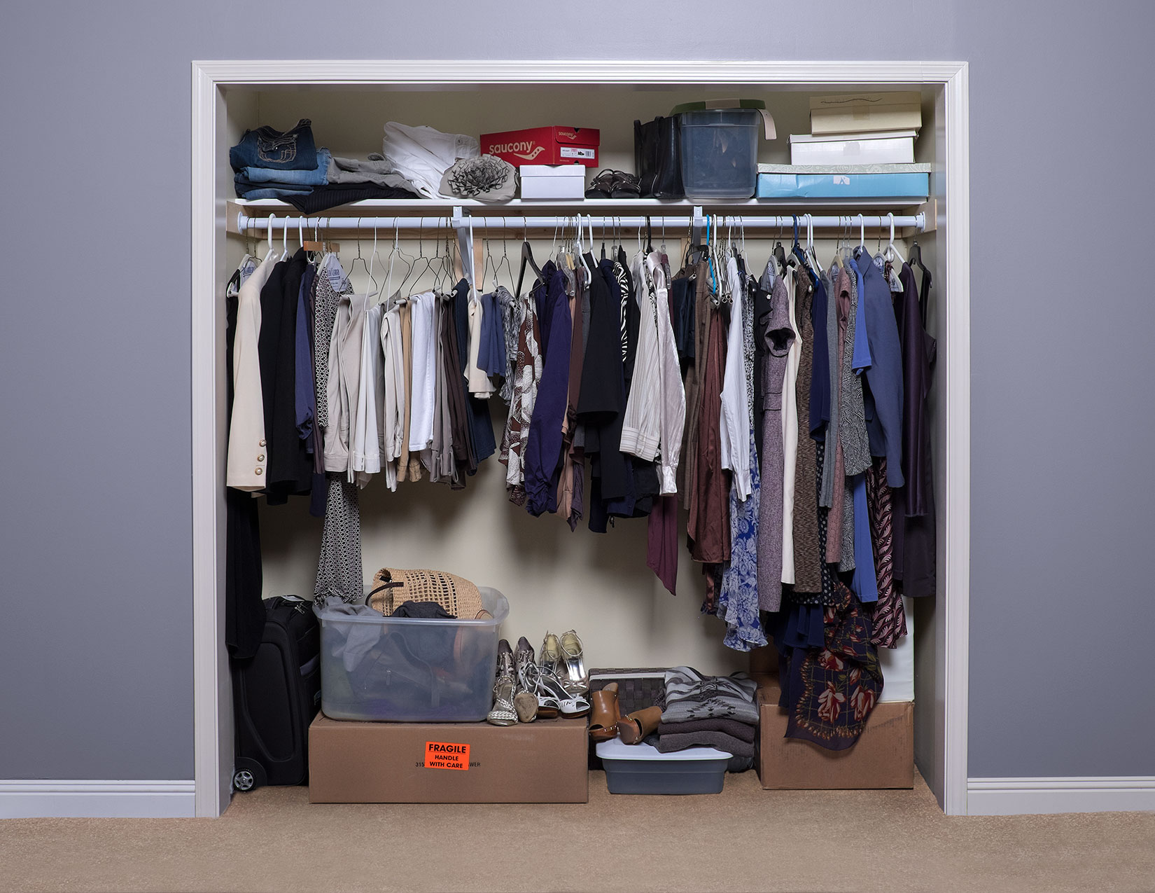 Before and after great closet designs space age shelving for Great closets