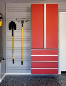 Red Cabinet w Drawers-Shovel-Rake on Grey Slatwall-Aug 2013