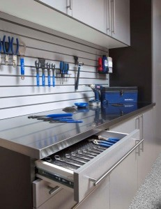 Stainless Workbench-Open Drawer-Gray Slatwall-Feb 2013