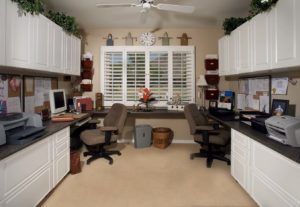 White Office in Raised Panel-Two Workstations