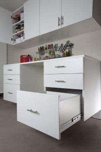 White Workbench with Drawers and Upper Cab Open