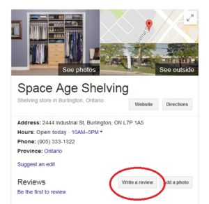 Google business listing for Space Age Shelving